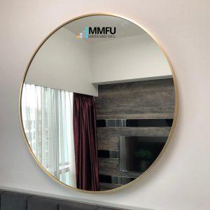 Golden Anodized Aluminium Frame Round Mirror