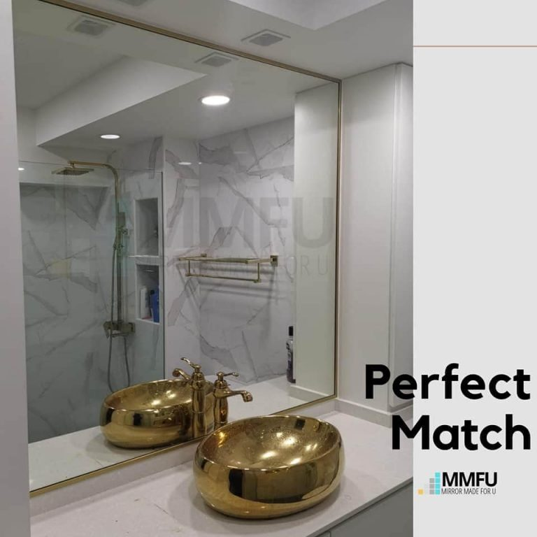 Customised Mirror with Golden Anodized Aluminium Frame