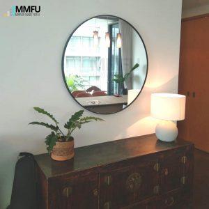Black Anodized Aluminium Frame Round Mirror