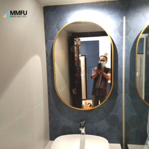 Oval Mirror with Gold Aluminum Frame