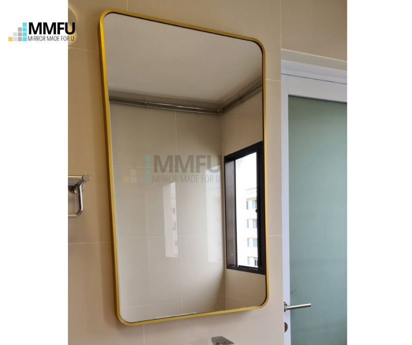 Rectangular with round corner Mirror with Gold Aluminum Frame