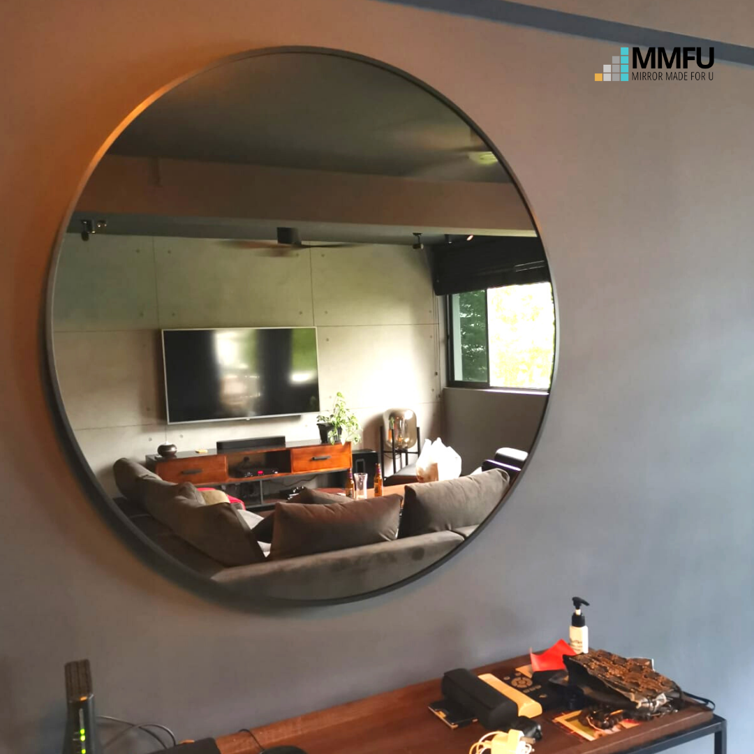 Round Tinted Mirror with Black Aluminum Frame